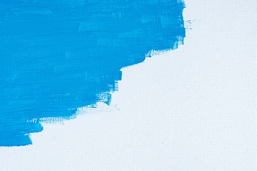 1084390994 istock photo Blue color abstract paint with a brush and textures of water color oil colour drawing lines on white canvas background 1250922207