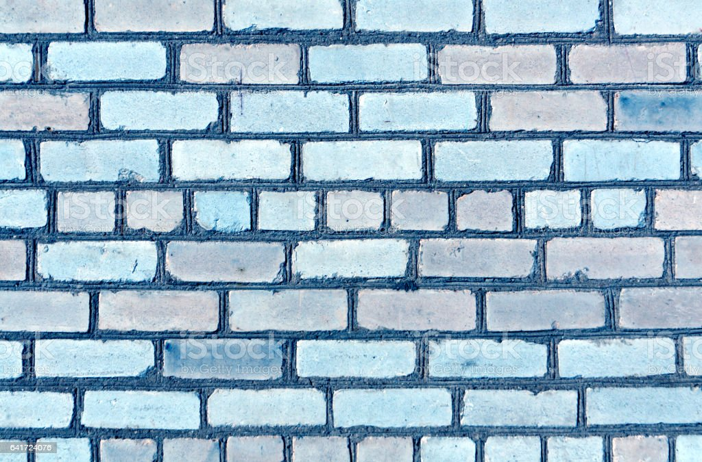 Blue color brick wall trexture. stock photo