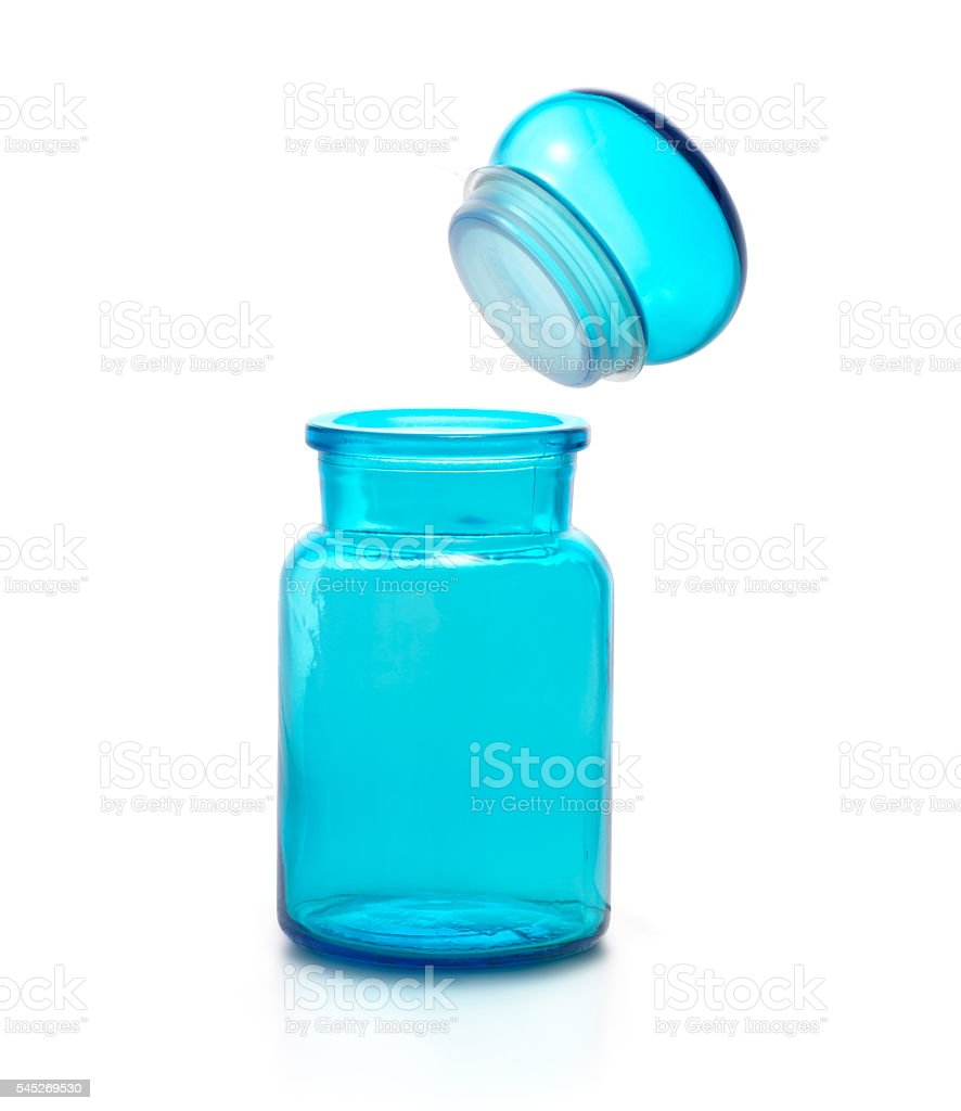 Blue color chemical flask and cap. stock photo