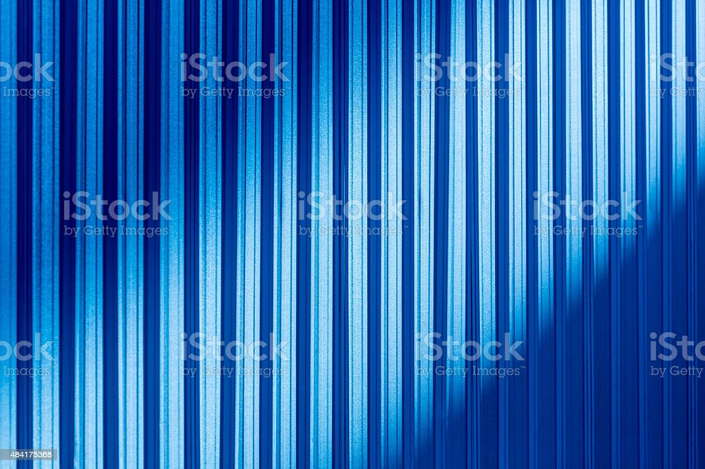 Blue color corrugated metal sheet stock photo