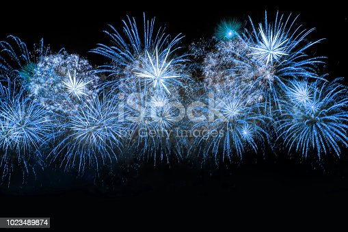 istock Blue color firework 1023489874