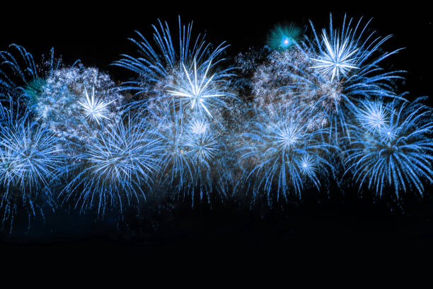 blue color firework - fireworks stock pictures, royalty-free photos & images