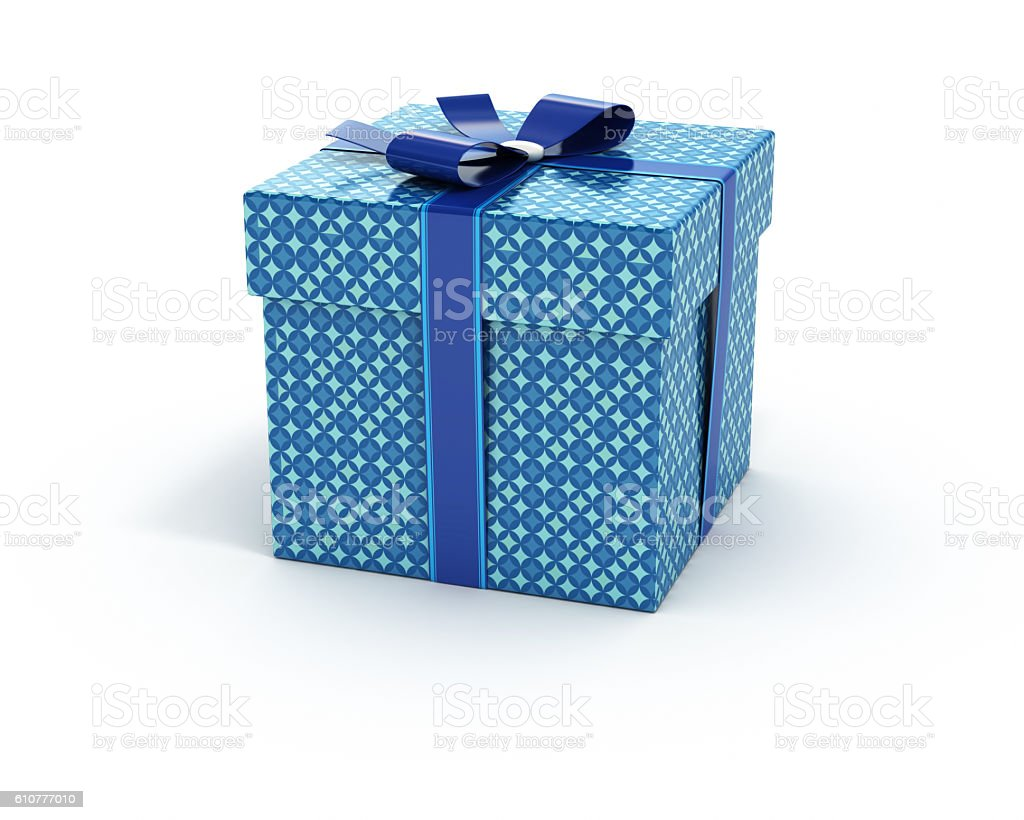 Blue color gift box isolated white background stock photo