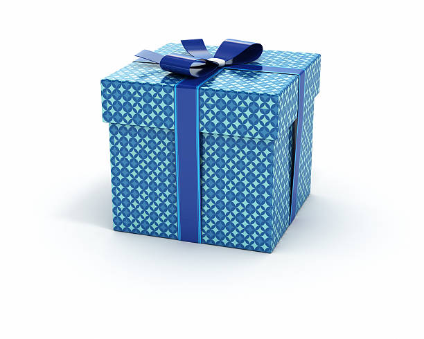 blue color gift box isolated white background - birthday gift stock photos and pictures