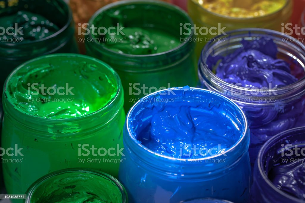 blue color of screen printing ink for print on tee shirts and fabric....