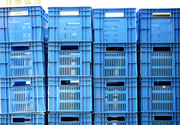 Blue color Plastic crates staked – Foto