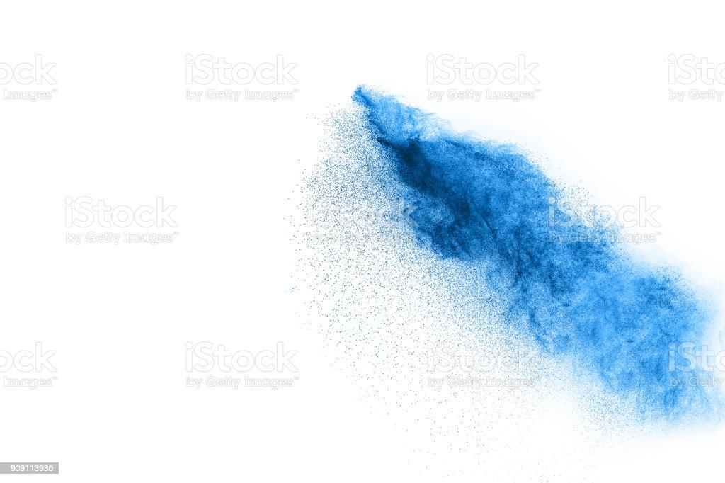 Blue Color powder splash cloud isolated on white background stock photo