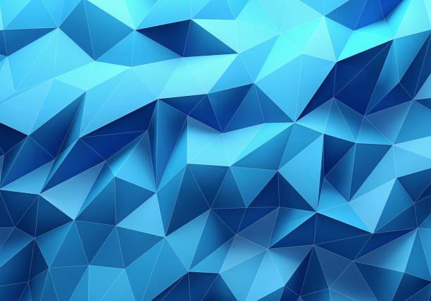 couleur triangle géométrique fond bleu - forme bidimensionnelle photos et images de collection