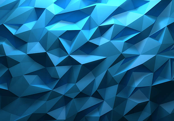 blue color triangle geometrical background - triangle shape stock photos and pictures