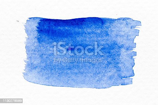 847999586 istock photo Blue color watercolor handdrawing as brush or banner on white paper background 1130278589