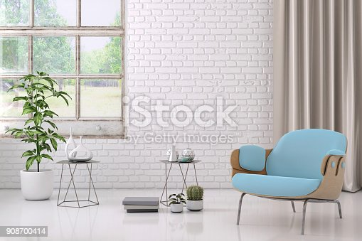 Interior render with pastel armchair and wall for copy space. coffee table with decor and plant in a vase. background mock up template