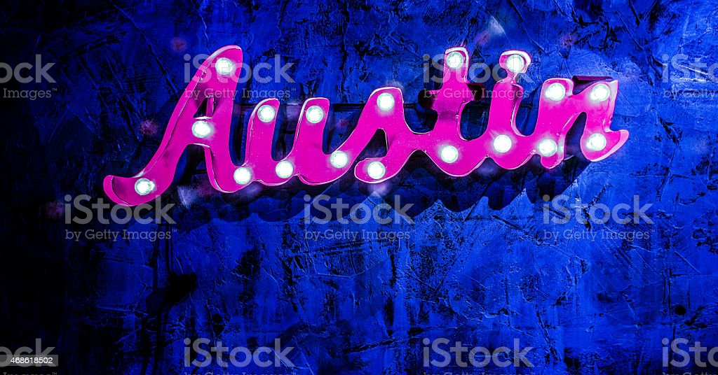 Blue Colored Austin Light Up Sign stock photo