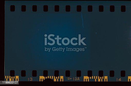 1152194399 istock photo Blue colored Film Light leak 1199633127