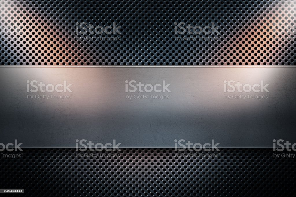 Blue colored perforated metal plate with metal banner and two yellow spotlights on the sides stock photo