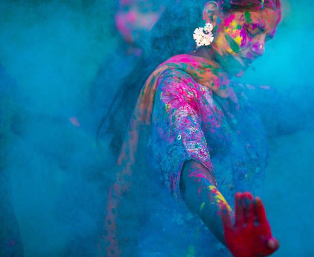 Couleurs Bleus lors de Holi en Inde - Photo