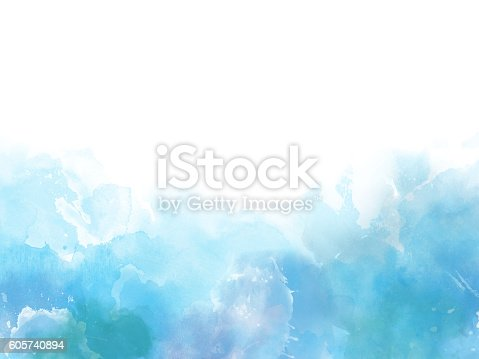 istock Blue colors Watercolor art border background 605740894