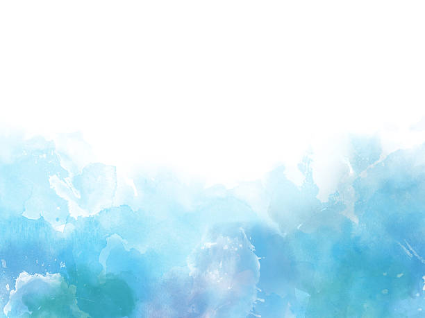 Blue colors Watercolor art border background - foto stock