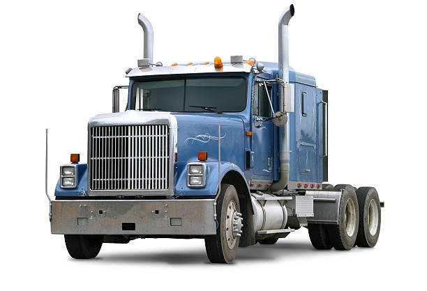 blaue kommerzielle truck - aufgemotzte trucks stock-fotos und bilder