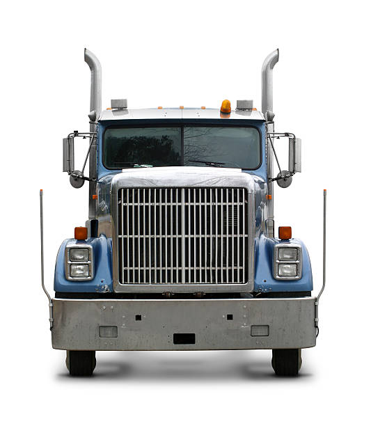 blue commercial truck - front view stock photos and pictures