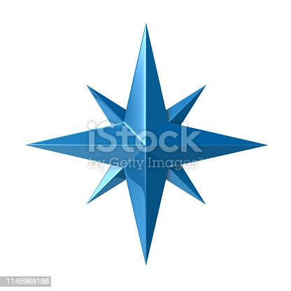 187602778 istock photo Blue compass rose 3d illustration 1145969186