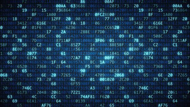blaue computer code tapete einfach - binärcode stock-fotos und bilder
