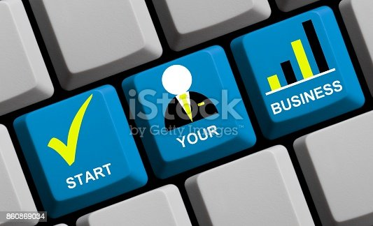Computer Keyboard with symbols showing Start you Business