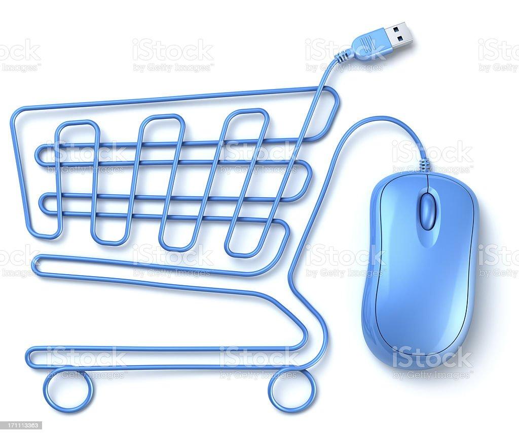 Blue computer-Maus Einkaufswagen – Foto