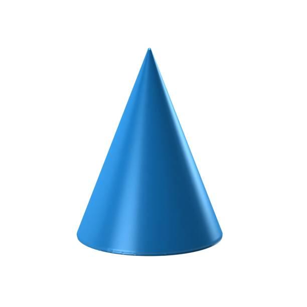 白い背景の青いコーンです。3 D のレンダリングの図 ストックフォト