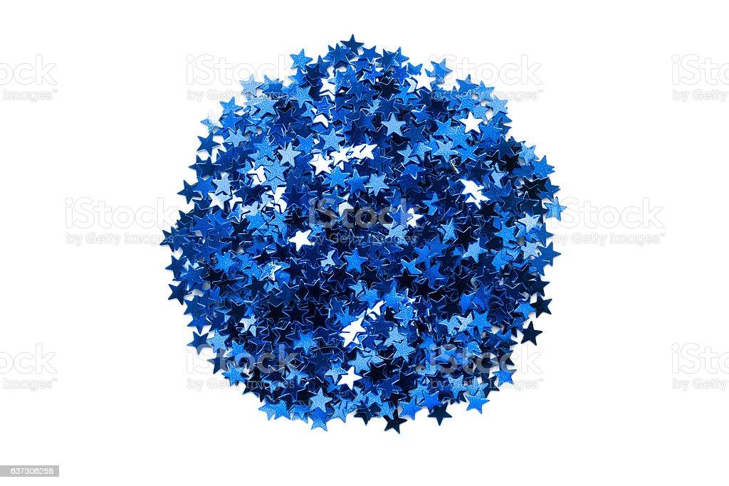 Blue confetti isolated stock photo