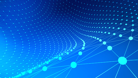 944923496 istock photo Blue connection lines background for technology concept, 3d illustration 949103870