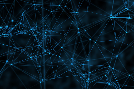 944923496 istock photo Blue connection lines on black background for technology concept, abstract illustration 944278900
