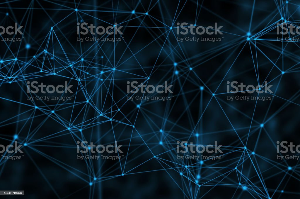 Blue connection lines on black background for technology concept, abstract illustration stock photo