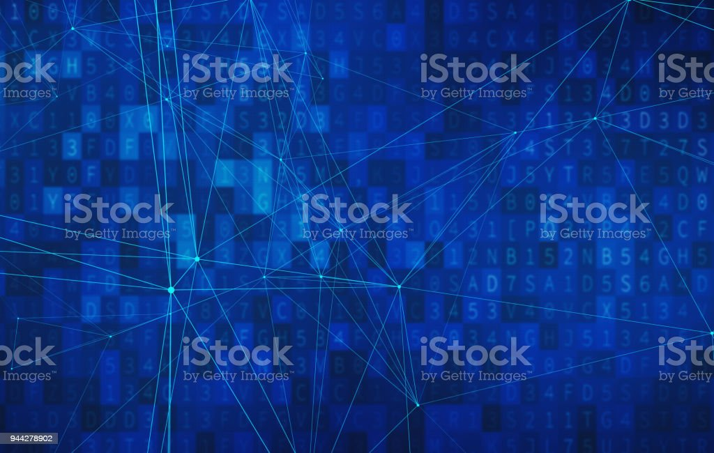Blue connection lines on data screen background for computer technology concept, abstract illustration stock photo