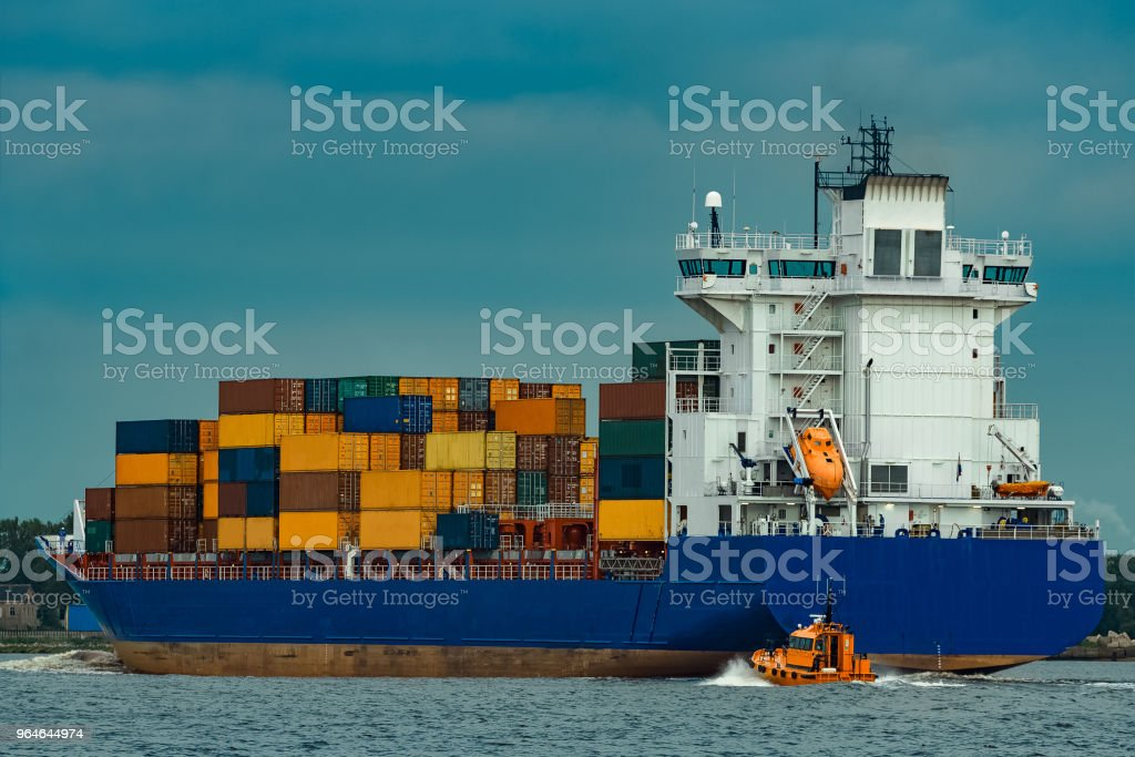 Blue container ship royalty-free stock photo