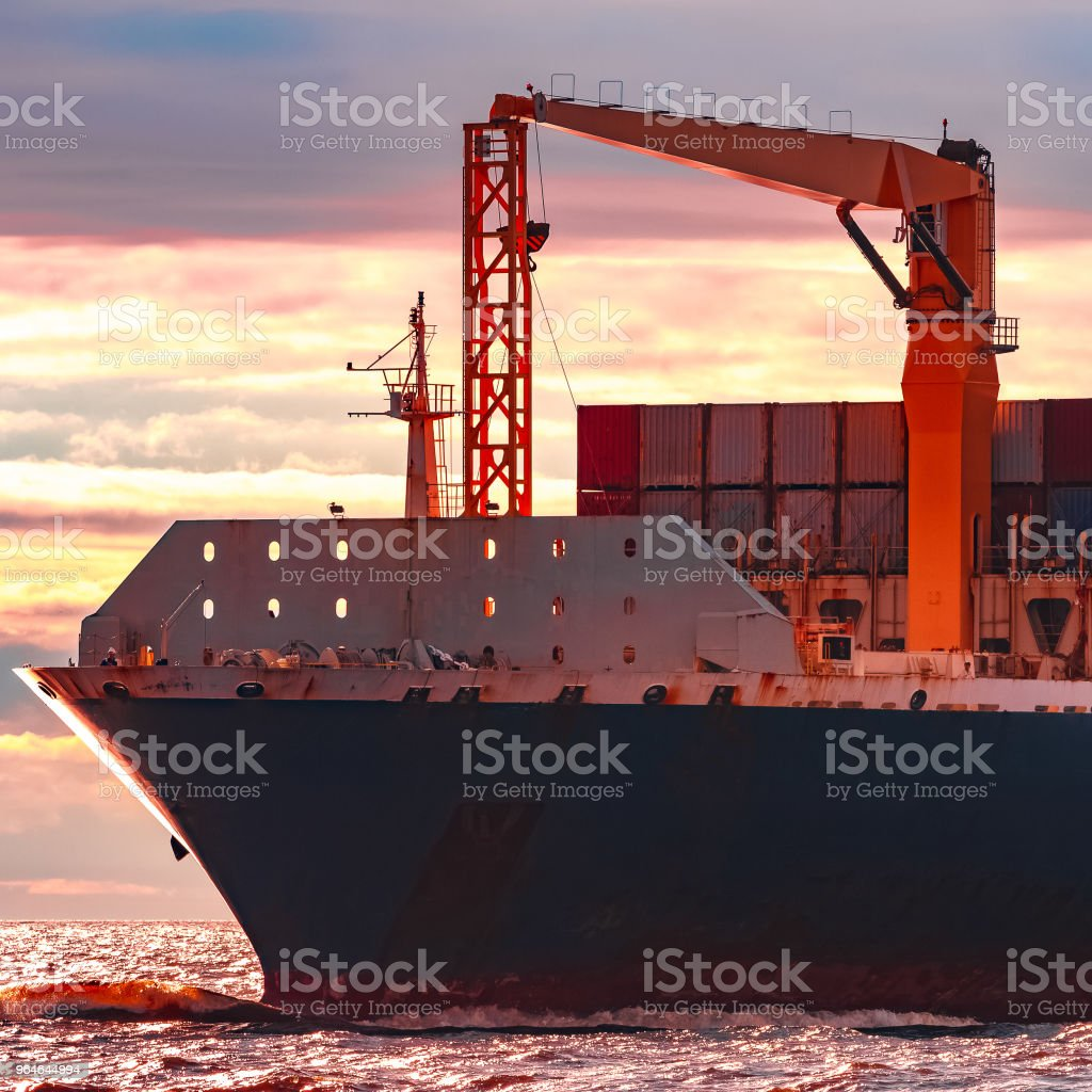 Blue container ship underway royalty-free stock photo