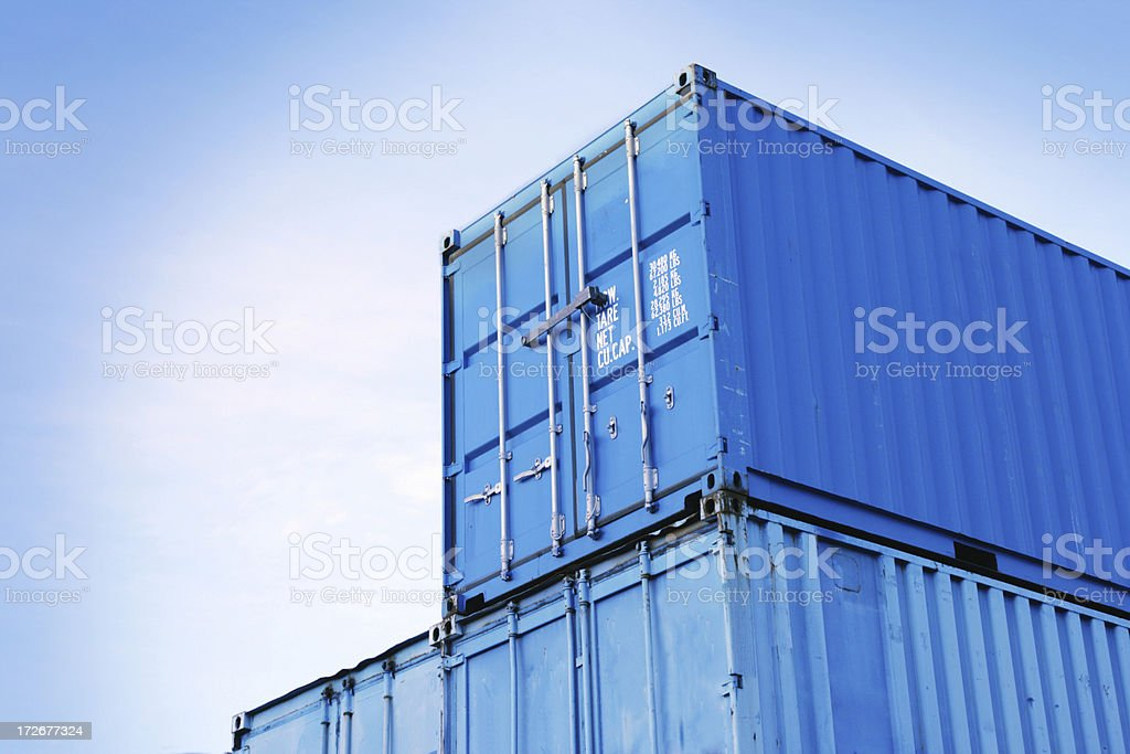 Blue Containers stock photo