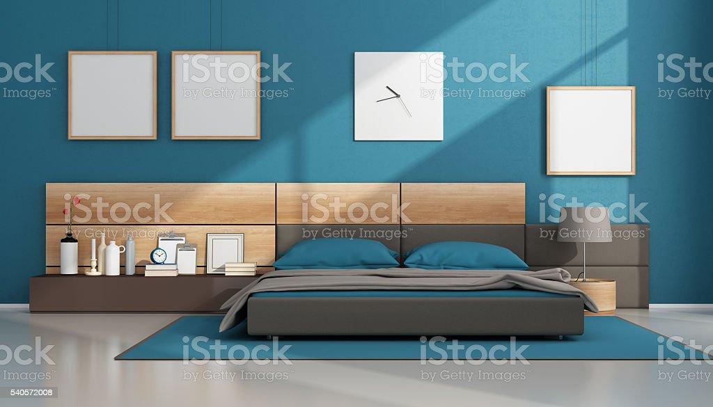 Blue contemporary bedroom stock photo