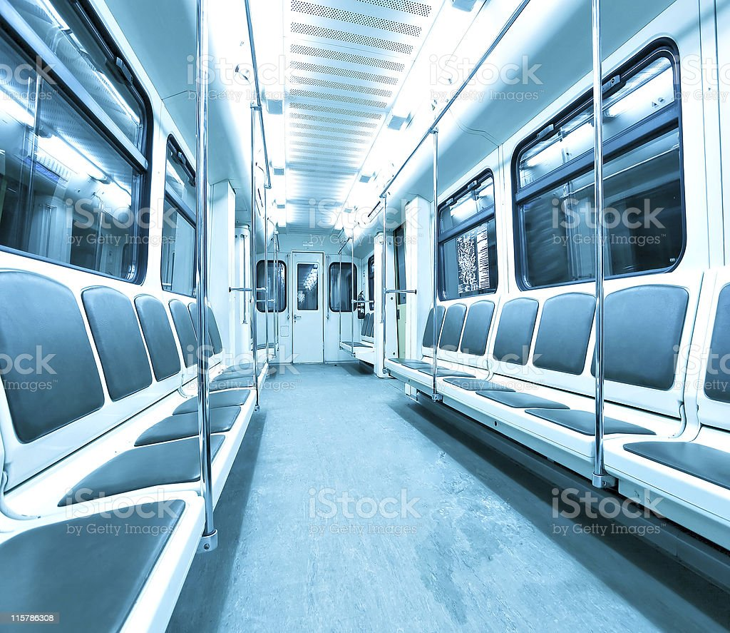 blue contemporary illuminated carriage interior royalty-free stock photo