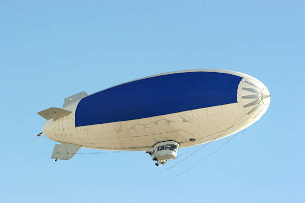 blue copy space on blimp to advertise your message stock photo