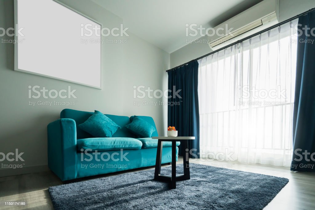 Blue Coral Fabric Color Sofa In White Living Room Interior ...