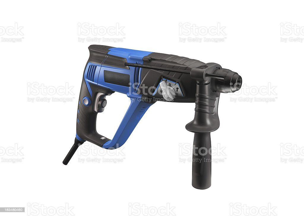 Blue Cordless Drill. Isolated on white background. royalty-free stock photo