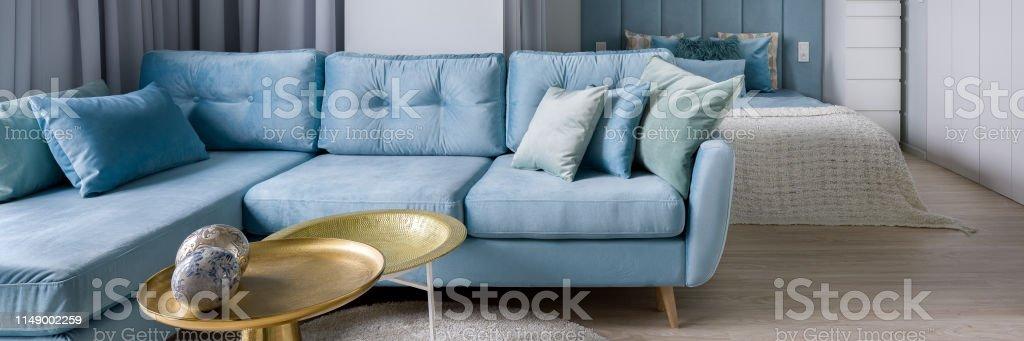 Blue Corner Sofa Stock Photo Download Image Now Istock
