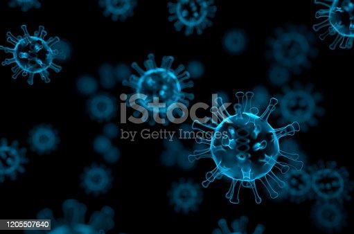 istock Blue coronavirus x-ray cancer illness -nCov virus close up defocus red background virus cells influenza as dangerous asian pandemic virus close up background 3d rendering 1205507640