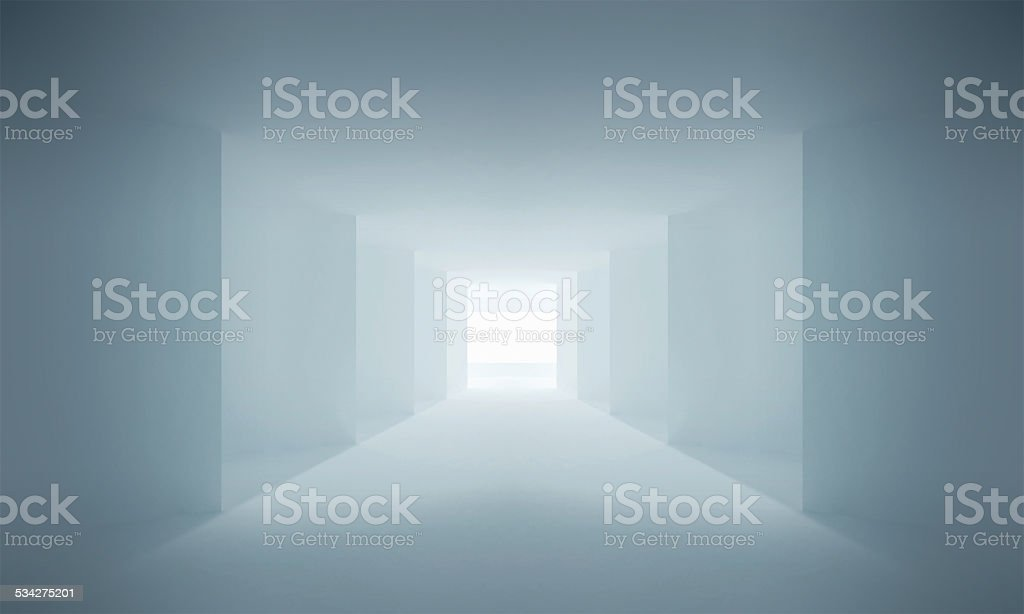 Blue corridor Interior with corners and light in the end stock photo