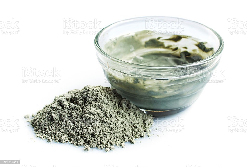 Blue cosmetic clay stock photo