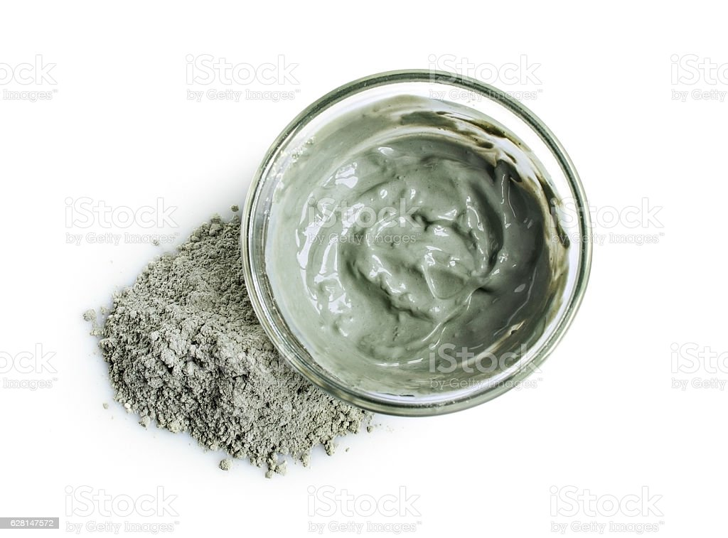 Blue cosmetic clay, top view stock photo