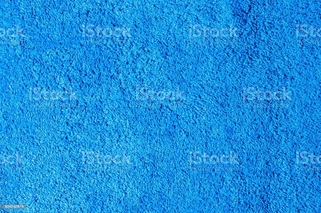 Blue cotton bath towel background stock photo