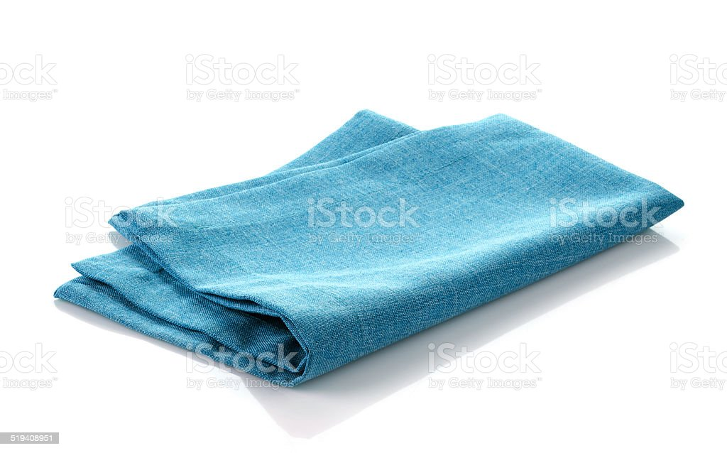 blue cotton napkin stock photo