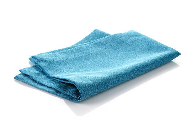 blue cotton napkin stock photo