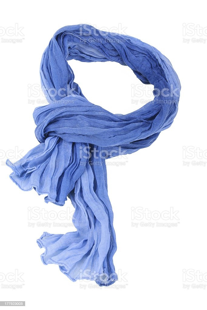 Blue cotton scarf in a loop for wearing stock photo